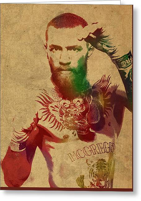Conor Mcgregor Ufc Fighter Mma Watercolor Portrait On Old Canvas Greeting Card by Design Turnpike