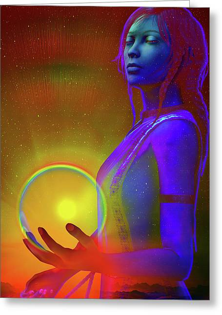 Greeting Card featuring the digital art Consciousness by Shadowlea Is