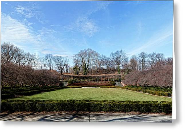 Conservatory Garden Greeting Cards - Conservatory Garden Panorama Greeting Card by Robert Ullmann