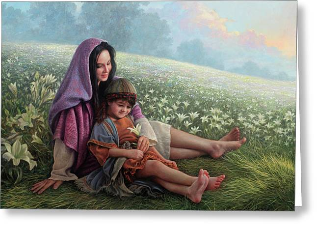 Consider The Lilies Greeting Card by Greg Olsen