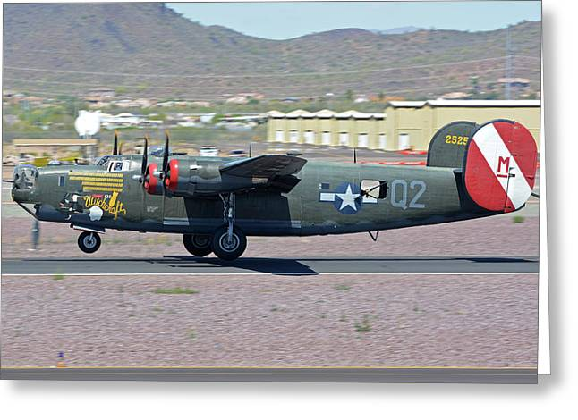Greeting Card featuring the photograph Consolidated B-24j Liberator N224j Witchcraft Deer Valley Arizona April 13 2016 by Brian Lockett