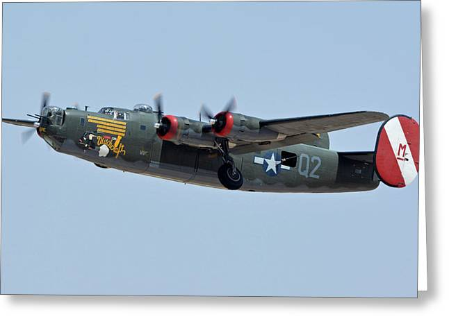 Greeting Card featuring the photograph Consolidated B-24j Liberator N224j Witchcraft Phoenix-mesa Gateway Airport Arizona April 15 2016 by Brian Lockett