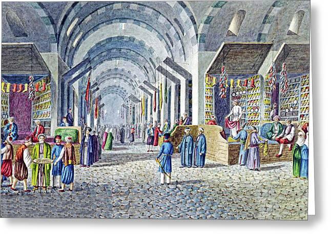 Constantinople Indoor Bazaar Greeting Card by Munir Alawi