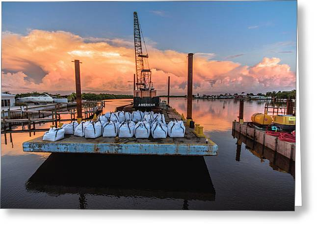 Construction Barge  Greeting Card by Michael Frizzell