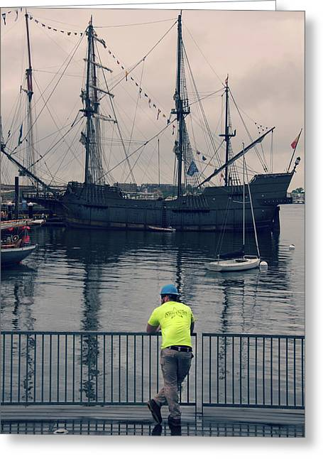 Construction Break On Boston Harbor Greeting Card