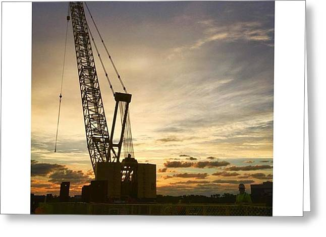 Construction Crane At Sunrise Greeting Card