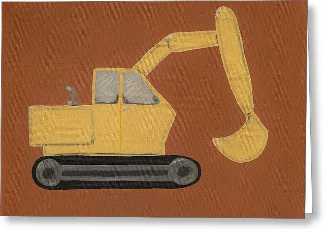 Construction Digger Greeting Card by Katie Carlsruh