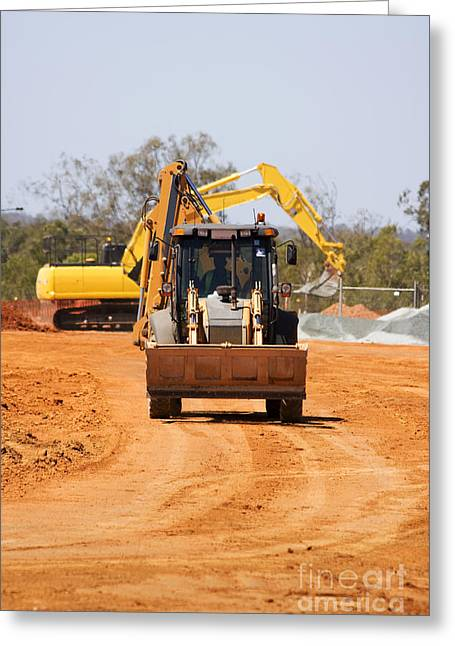 Construction Digger Greeting Card by Jorgo Photography - Wall Art Gallery