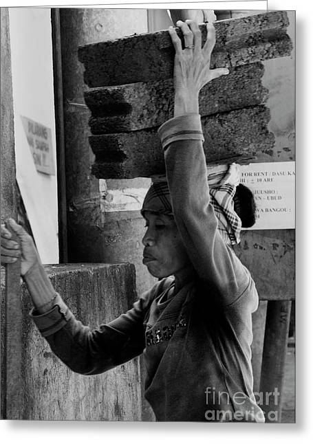 Greeting Card featuring the photograph Construction Labourer - Bw by Werner Padarin