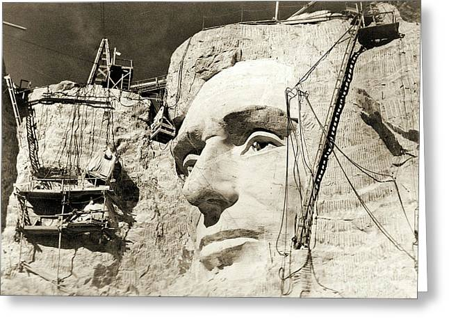 Construction Of The Mount Rushmore National Memorial, Detail Of Abraham Lincoln,1928  Greeting Card