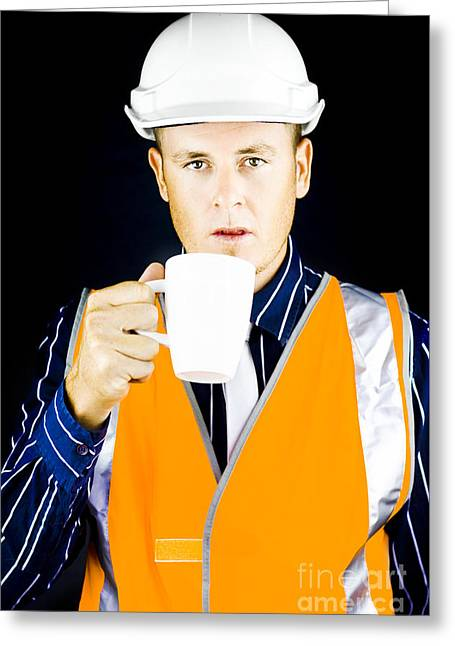 Construction Worker Having Coffee Greeting Card by Jorgo Photography - Wall Art Gallery