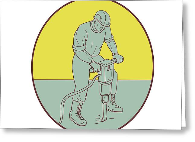 Construction Worker Operating Jackhammer Oval Drawing Greeting Card by Aloysius Patrimonio