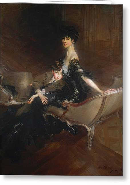 Consuelo Vanderbilt - Duchess Of Marlborough And Her Son Lord Iv Greeting Card by Giovanni Boldini