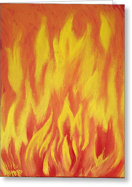 Greeting Card featuring the painting Consuming Fire by Antonio Romero