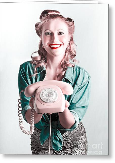 Contact Us By Telephone Said A Vintage Pinup Woman Greeting Card by Jorgo Photography - Wall Art Gallery