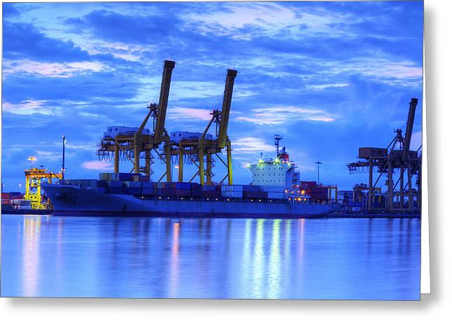 Bangkok Greeting Cards - Container Cargo freight ship with working crane bridge in shipya Greeting Card by Anek Suwannaphoom