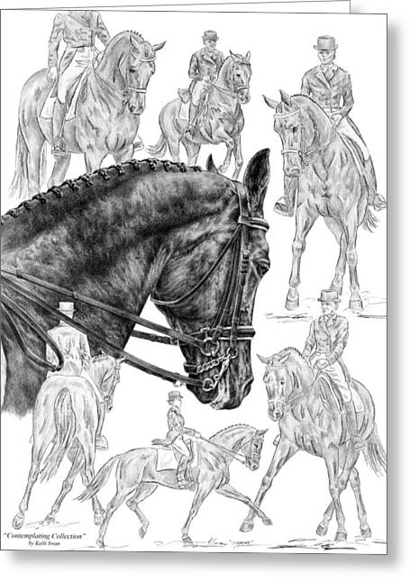 Contemplating Collection - Dressage Horse Drawing Greeting Card