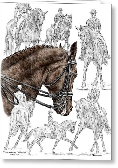 Trot Greeting Cards - Contemplating Collection - Dressage Horse Print color tinted Greeting Card by Kelli Swan