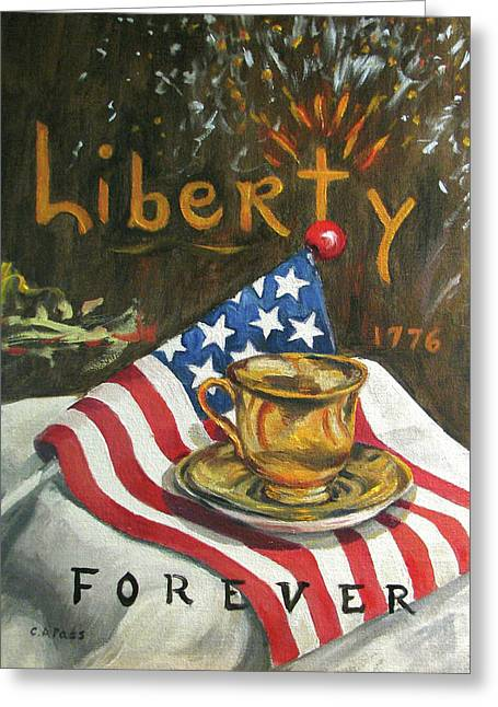 Contemplating Liberty Greeting Card by Cheryl Pass