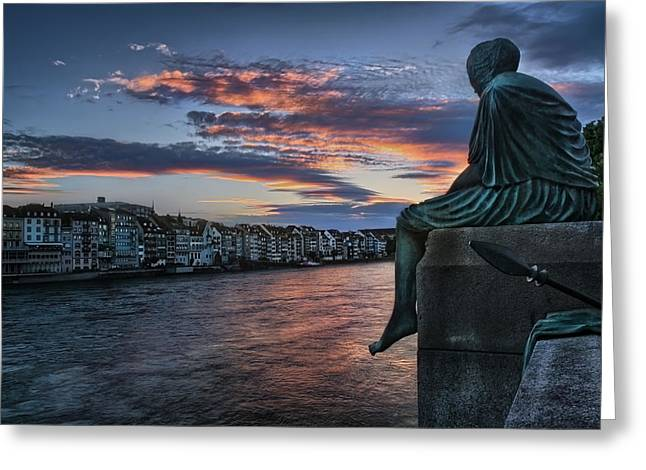 Contemplating Life In Basel Greeting Card by Carol Japp