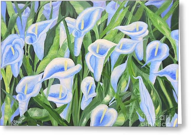 Contemplating Lilies Greeting Card