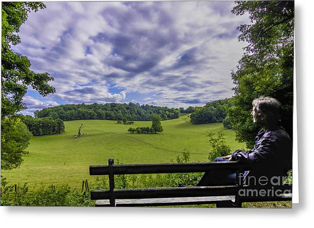 Contemplating The Beautiful Scenery Greeting Card