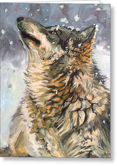 Contemplating The Snow Greeting Card by Koro Arandia