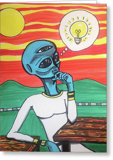 Greeting Card featuring the painting Contemplative Alien by Similar Alien