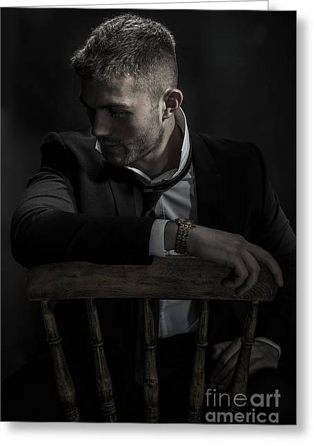 Contemplative Male Model Greeting Card by Amanda Elwell