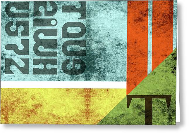Contemporary Abstract Industrial Art - Distressed Metal - Blue, Green, Yellow Greeting Card