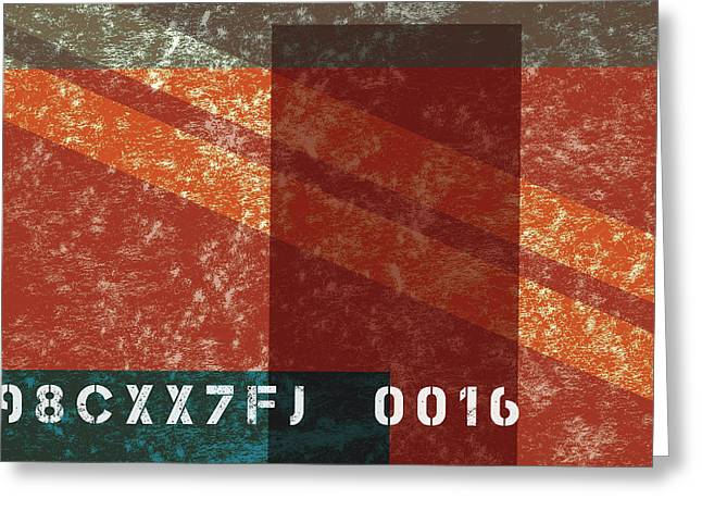 Contemporary Abstract Industrial Art - Distressed Metal - Deep Red Greeting Card