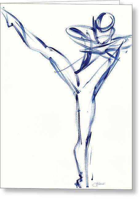 Contemporary Ballet Dancer, Blue Greeting Card