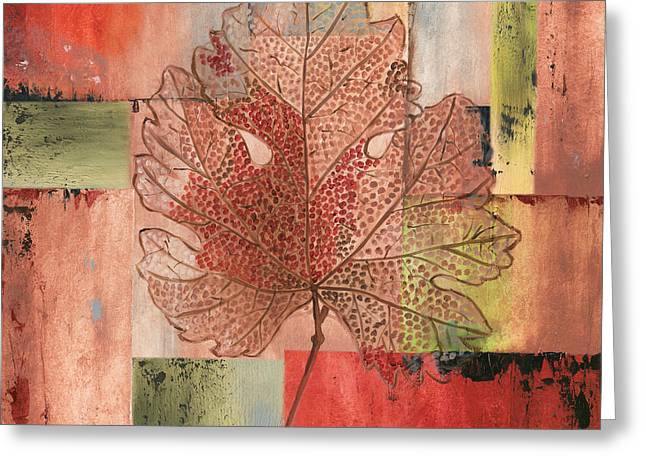 Contemporary Grape Leaf Greeting Card by Debbie DeWitt