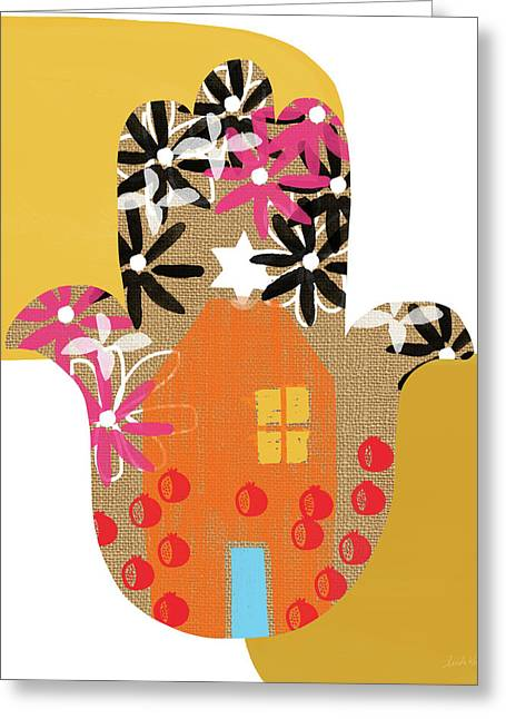 Greeting Card featuring the mixed media Contemporary Hamsa With House- Art By Linda Woods by Linda Woods