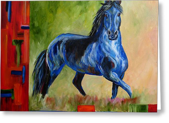 Contemporary Horse Painting Fresian Greeting Card