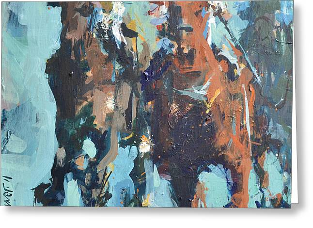 Greeting Card featuring the painting Contemporary Horse Racing Painting by Robert Joyner