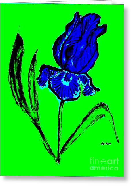 Contemporary Iris Greeting Card by Marsha Heiken