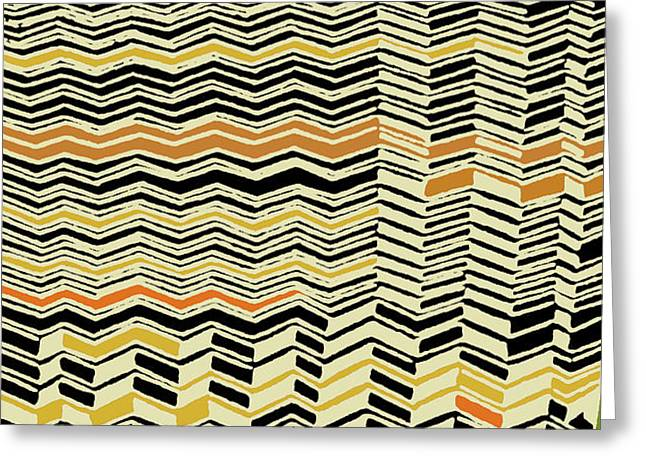 Greeting Card featuring the digital art Contemporary Kuba Cloth by Vagabond Folk Art - Virginia Vivier