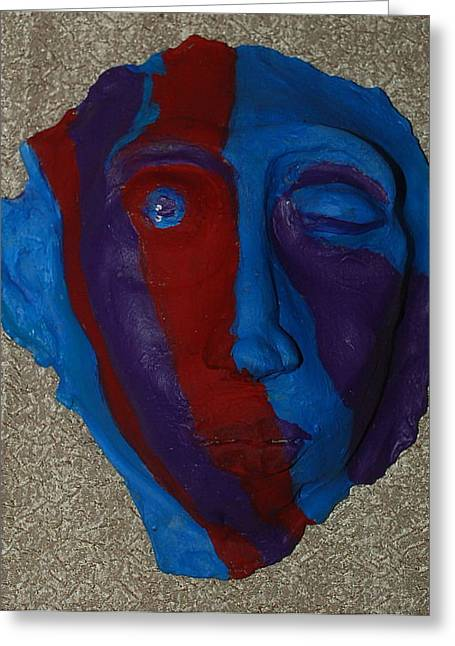Recently Sold -  - African-americans Sculptures Greeting Cards - Contemporary Mask Greeting Card by Aldonia Bailey