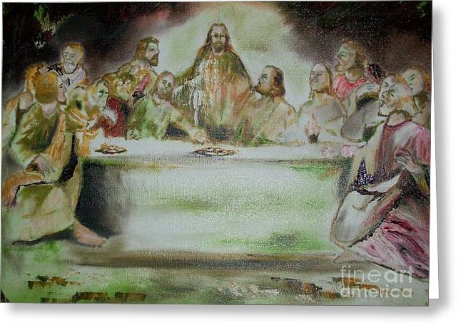 Greeting Card featuring the painting Contemporary Modern Art - The Last Supper by Raymond Doward