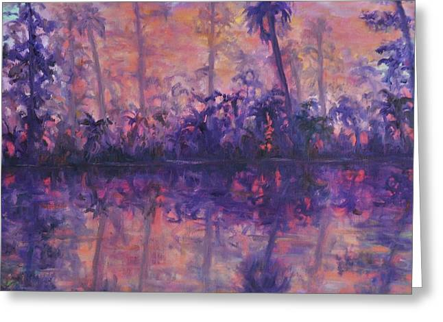 Contemporary Nature Painting Tropical Lake Sunset Greeting Card