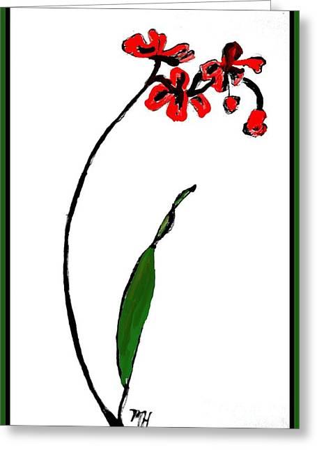 Greeting Card featuring the painting Contemporary Orchids by Marsha Heiken