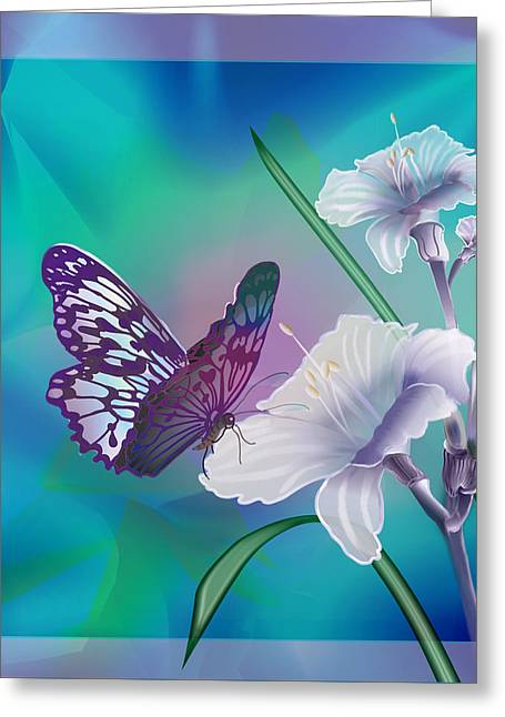 Contemporary Painting Of A Dancing Butterfly  Greeting Card