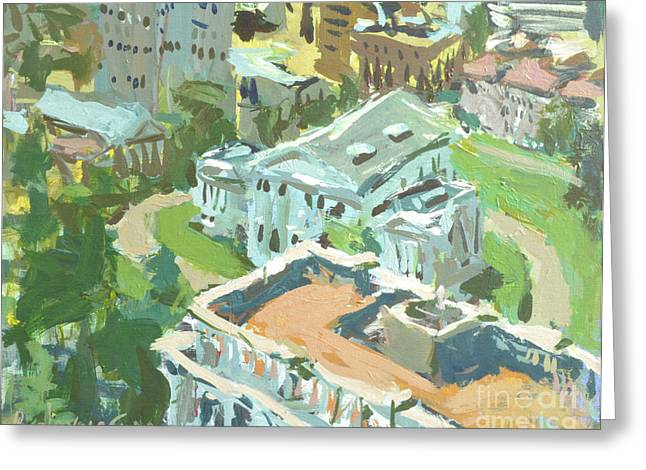 Greeting Card featuring the painting Contemporary Richmond Virginia Cityscape Painting Featuring Virginia State Capitol Building by Robert Joyner