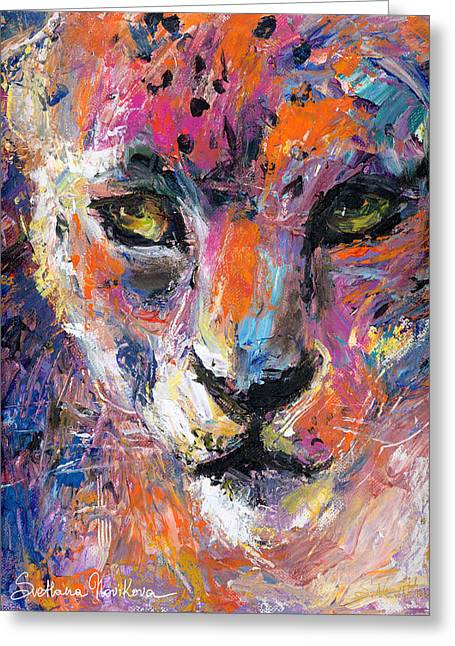 contemporary Wildlife painting cheetah leopard  Greeting Card by Svetlana Novikova