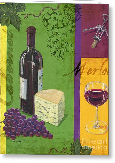 Contemporary Wine Collage I Greeting Card by Paul Brent