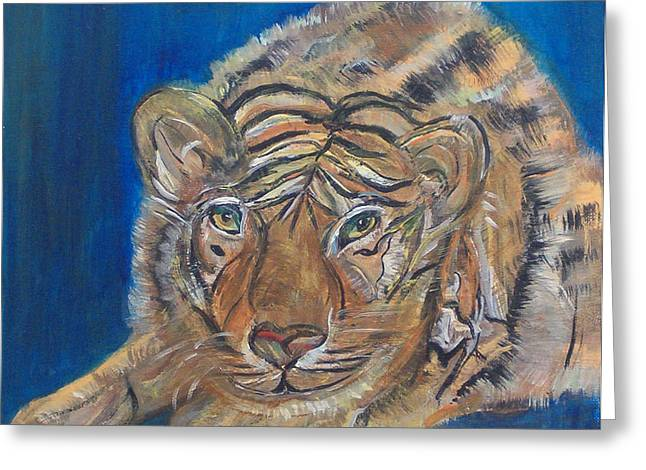 Contented Tiger Greeting Card by Mikki Alhart