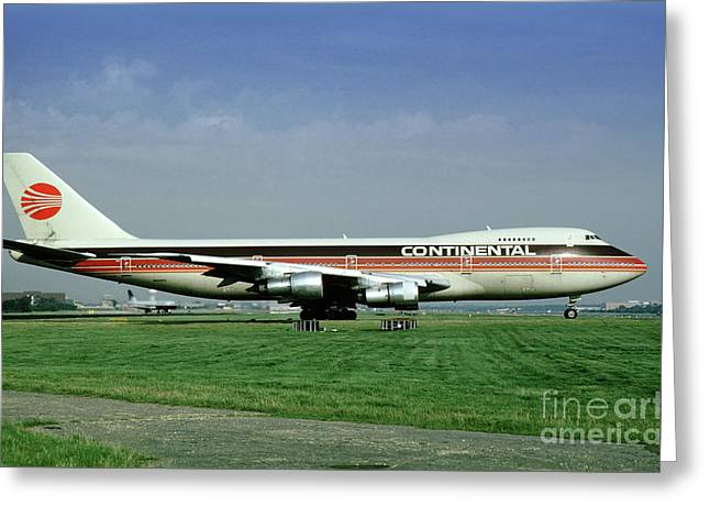 Continental Airlines Boeing 747-243b, N605pe, October 1988 Greeting Card