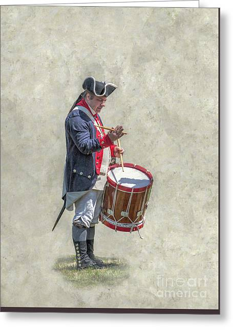 Greeting Card featuring the digital art Continental Army Drummer American Revolution by Randy Steele