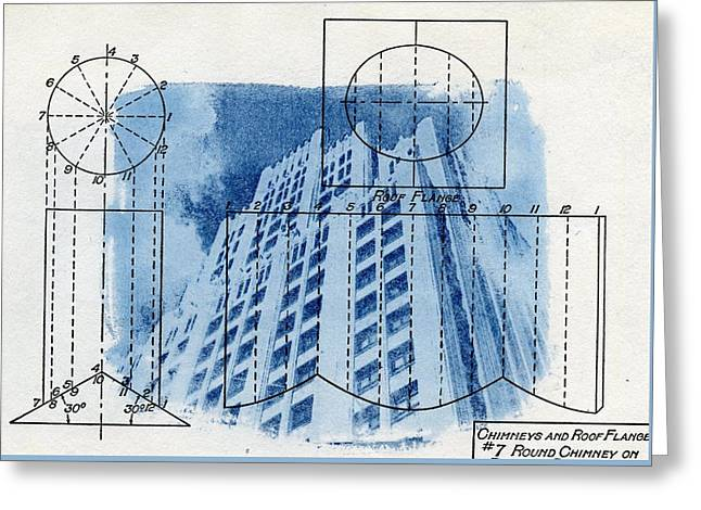 Continental Life Building Cyanotype Blueprint Architecture Greeting Card